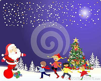 Christmas decoration of the Christmas tree and Santa Claus,