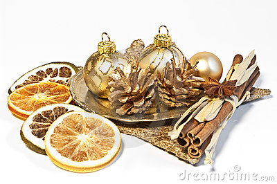Christmas decoration with dried fruits