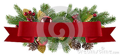 Christmas decoration element with straight red ribbon