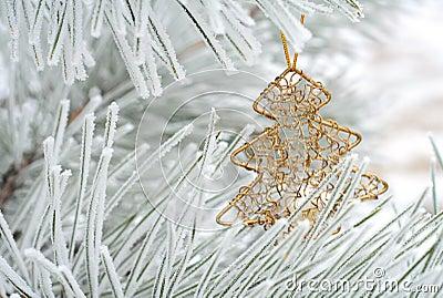 Christmas decoration on fir tree