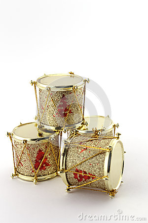 Christmas decoration with four golden drums