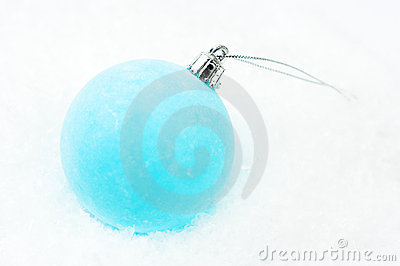 Christmas decoration - frosty blue bauble