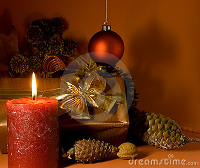 Christmas decoration with Gift,balls and lighted c