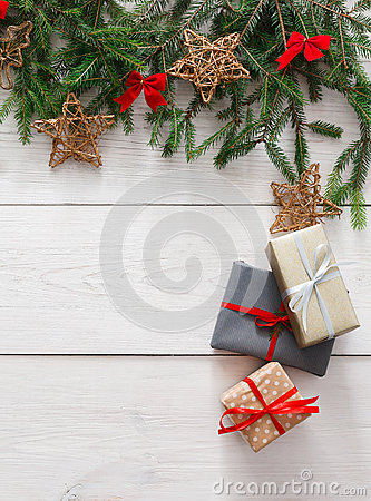 Free Christmas Decoration, Gift Boxes And Garland Frame Background Royalty Free Stock Photo - 79842615