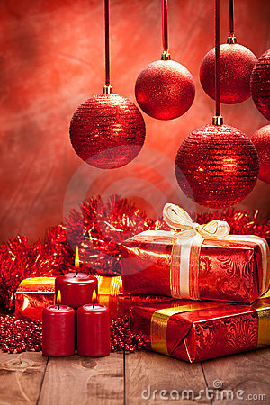 Free Christmas Decoration - Gifts, Balls And Candles Stock Photos - 17026833