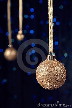 Christmas decoration in gold and blue