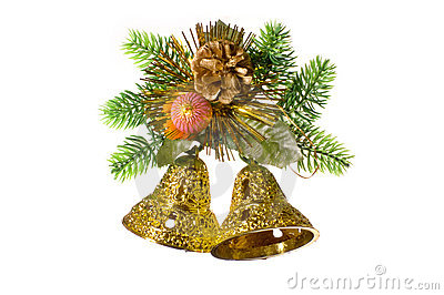 Christmas decoration with golden bells.