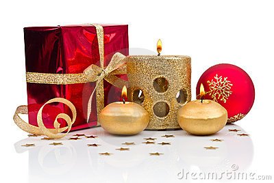 Christmas decoration with golden candles