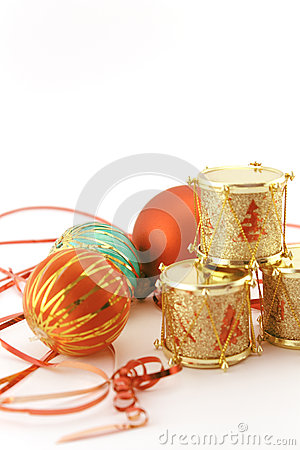 Christmas decoration with golden drums