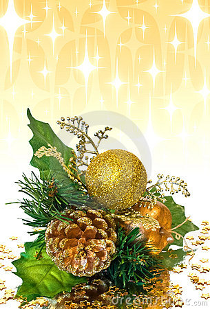 Christmas decoration - green and gold branch
