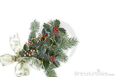 Christmas decoration with holly berries