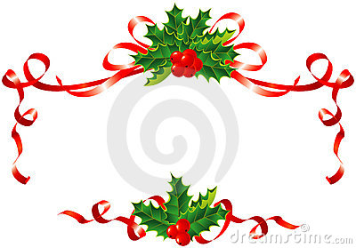 Christmas Decoration / Holly And Ribbons Border Royalty Free Stock Images - Image: 6666009