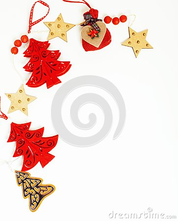Free Christmas Decoration Isolated , White Background For Post Card Gift Vintage, Copyspace For Text, Fashion Stylish Red Royalty Free Stock Photo - 99828015