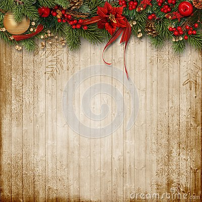 Free Christmas Decoration On Wooden Background Royalty Free Stock Photo - 132974755