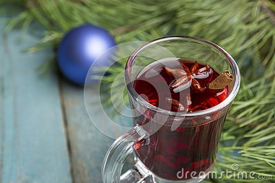 Christmas Decoration Over Wooden Background. Stock Photo