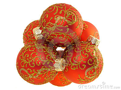 Christmas decoration, red balls isolated
