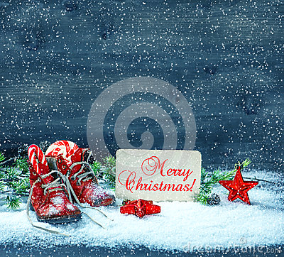 Free Christmas Decoration Red Stars And Antique Baby Shoes In Snow Royalty Free Stock Photo - 45759175