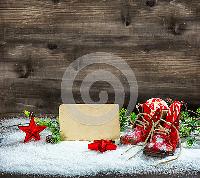 Free Christmas Decoration Red Stars Antique Baby Shoes Snow Postcard Royalty Free Stock Photography - 80845897