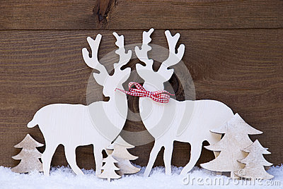 Christmas Decoration, Reindeer Couple In Love, Snow, Tree Stock Photo