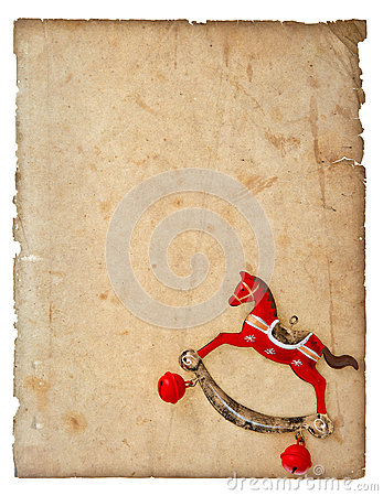 Free Christmas Decoration Rocking Horse Toy With Aged Paper Page Royalty Free Stock Photography - 47447467