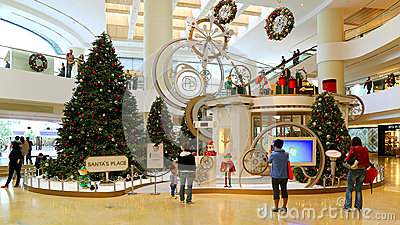 Christmas decoration in shopping mall editorial stock for Best places for christmas shopping
