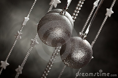 Christmas decoration - silver baubles