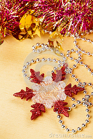 Christmas decoration snowflake and beads