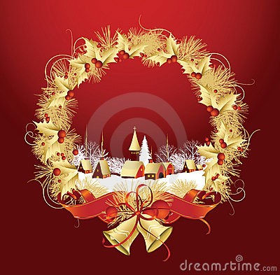 Christmas decoration with a town in red color.