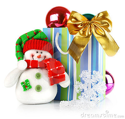 Christmas decoration with toy snowman