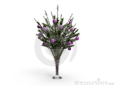 Christmas decoration in a vase with willow
