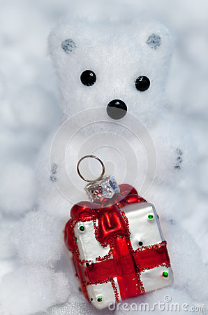 Christmas decoration white bear cub
