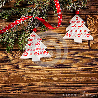 Christmas decoration, on wood background, Norwegian Christmas tree ornament Stock Photo