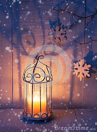 Free Christmas Decorations And Lantern At The Evening . Stock Photography - 77645472