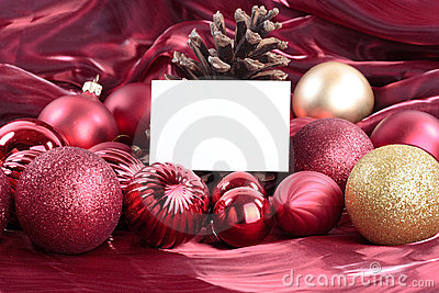 Christmas decorations with blank card