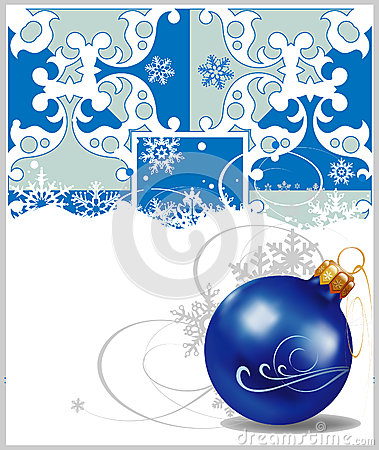 Christmas decorations in blue background