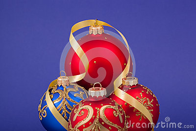 Christmas decorations on a blue background.