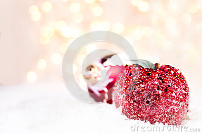 Christmas decorations with copy space for greeting text. Christm