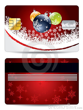 Christmas decorations credit card design