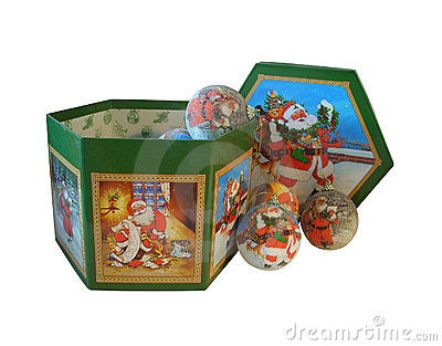 Christmas decorations in decorated Box