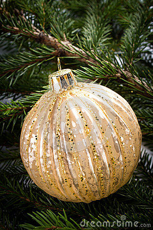 Christmas Decorations on Fir Tree background