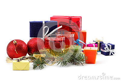 Christmas decorations and gift bags.