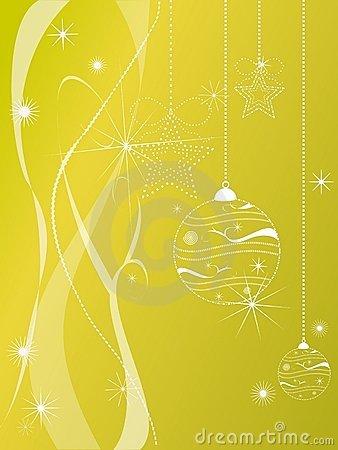 Christmas decorations on gold background