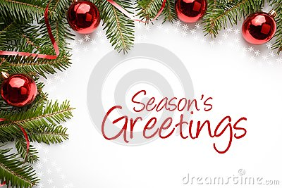 Christmas decorations with the greeting `Season`s Greetings` Stock Photo