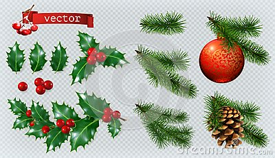 Christmas decorations. 3d vector icon set Vector Illustration