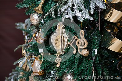 Christmas decorations on music sheets Stock Photo