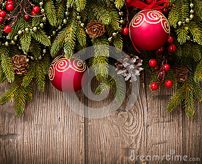 Christmas Decorations over Wood