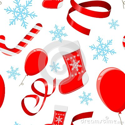 Christmas decorations. Red 3d elements and blue snowflakes. Seamless pattern Vector Illustration