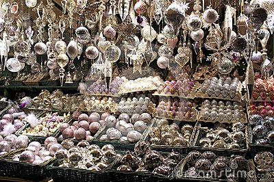 Christmas decorations for sale at market royalty free for Christmas decorations sale online