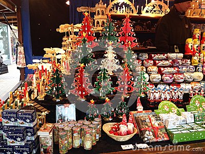Close up of christmas decorations on sale in a market stall this is