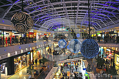 Christmas decorations in Shopping centre Editorial Stock Image